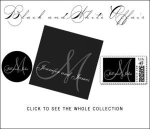 Monogrammed Black Gray Wedding Invitations by MonogramGallery.ca