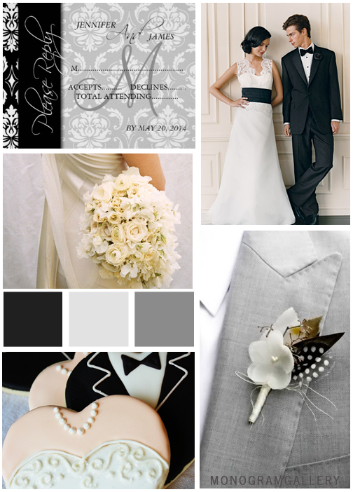 Black Gray Classic Damask Wedding Invitations Inspiration Board by MonogramGallery.ca