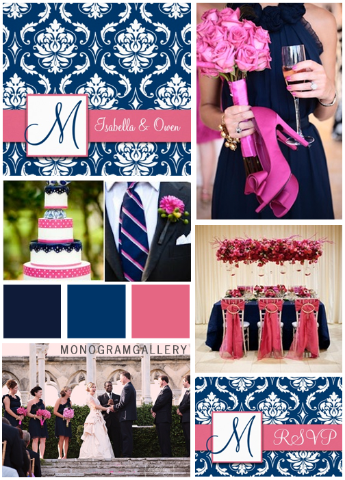 Pink Navy Blue Wedding Invitations Inspiration Board by MonogramGallery.ca