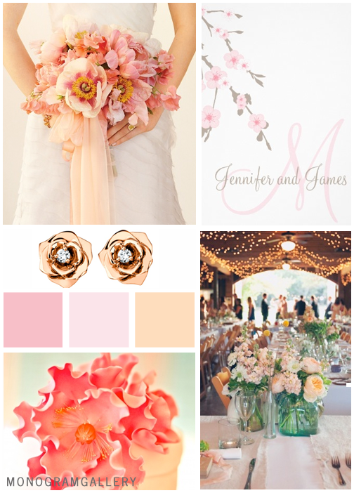 Cherry Blossom Wedding Invitations Inspiration Board by MonogramGallery.ca