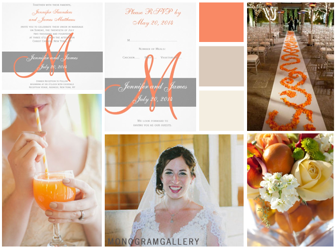 Orange Gray Wedding Invitations Inspiration Board by MonogramGallery.ca