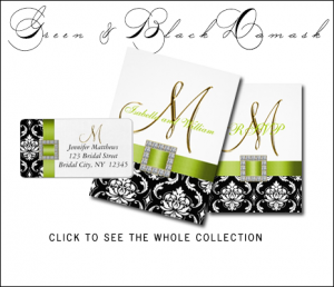 Green Black Wedding Invitations with Damask by MonogramGallery.ca