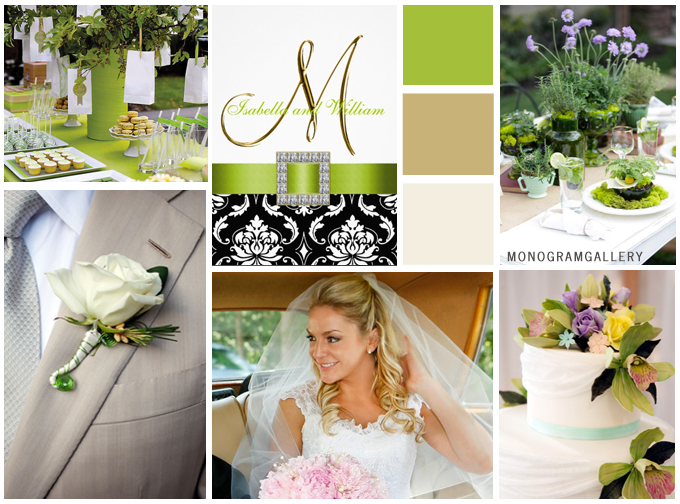 Green Black Wedding Invitations Inspiration Board by MonogramGallery.ca