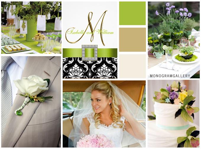 Green Black Wedding Invitations Inspiration Board by MonogramGallery.ca