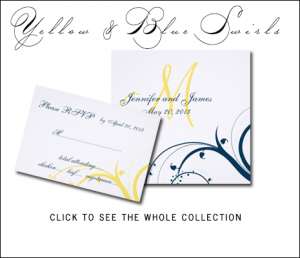 Navy Blue Yellow Wedding Invitations by MonogramGallery.ca