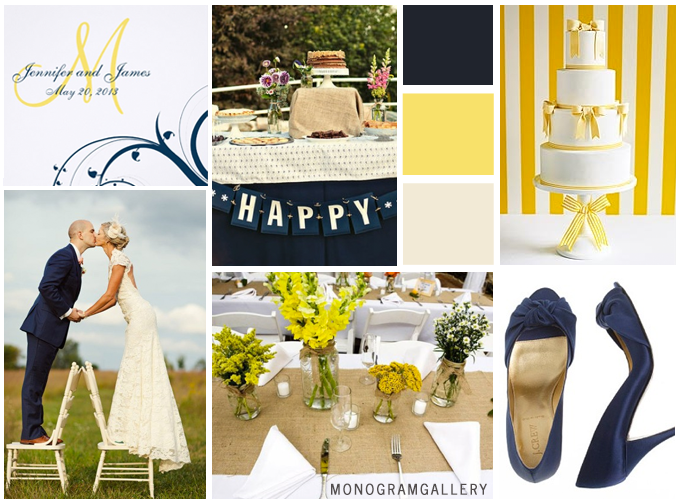 Navy Blue Yellow Wedding Invitations Inspiration Board by MonogramGallery.ca