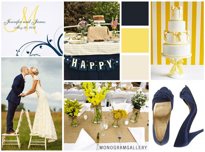 Navy Blue Yellow Wedding Invitations Inspiration Board by MonogramGallery.ca