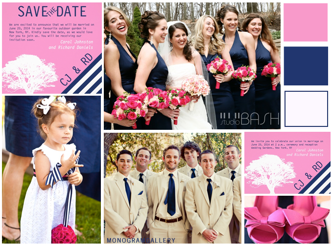 Navy Blue Pink Wedding Invitations Inspiration Board by MonogramGallery.ca