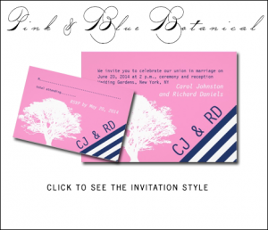 Navy Blue Pink Wedding Invitations with Tree by MonogramGallery.ca