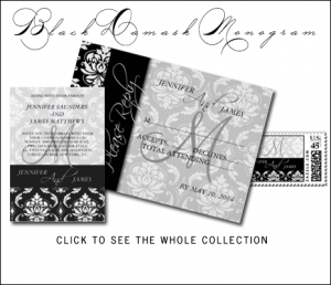 Black Gray Classic Damask Wedding Invitations