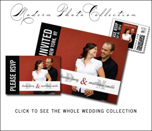 Red Black Wedding Invitations with Photo and Monograms
