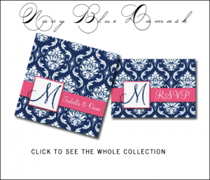 Pink Navy Blue Wedding Invitations | Damask Monogram by MonogramGallery.ca