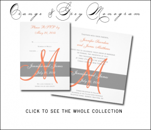 Orange Gray Wedding Invitations with Monogram by MonogramGallery.ca