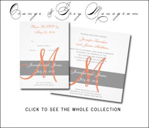Orange Gray Wedding Invitations with Monogram by MonogramGallery.ca