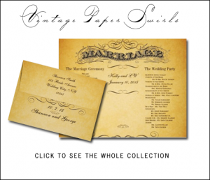 Rustic Wedding Invitations with Vintage Paper Swirls Collection