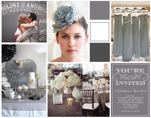 Vintage Gray Wedding Invitations Inspiration Board by MonogramGallery.ca