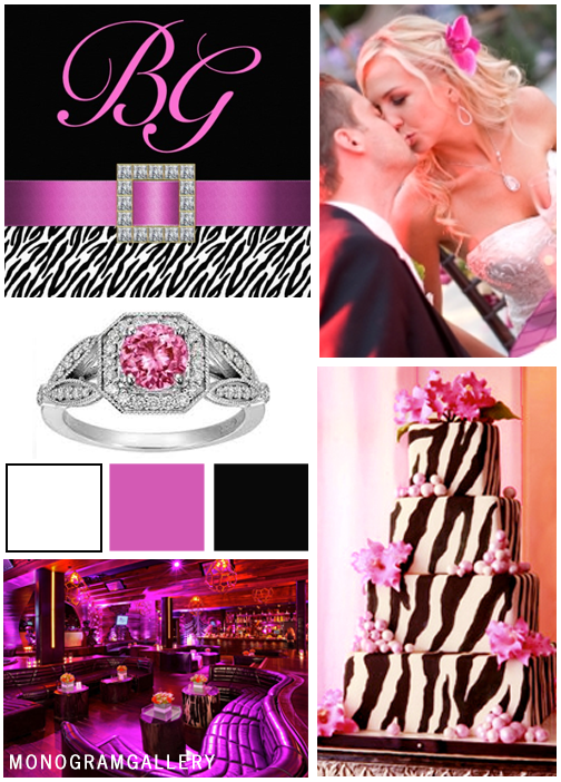 Zebra Print Wedding Invitations | Pink Black Inspiration Board by MonogramGallery.ca