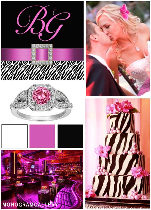 Zebra Print Wedding Invitations | Pink Black Inspiration Board by MonogramGallery.ca