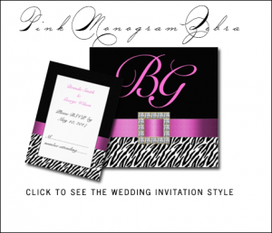 Zebra Print Wedding Invitations | Pink Black by MonogramGallery.ca