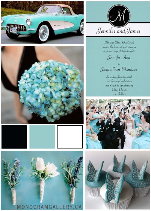 Tiffany Blue Wedding Invitations Black Monogram Inspiration Board by MonogramGallery.ca