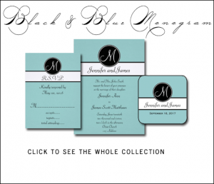 Tiffany Blue Wedding Invitations with Black Monogram by MonogramGallery.ca