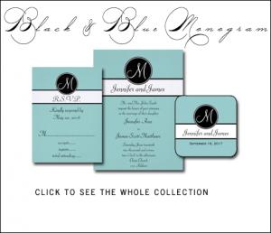 Tiffany Blue Wedding Invitations with Black Monogram by MonogramGallery.ca