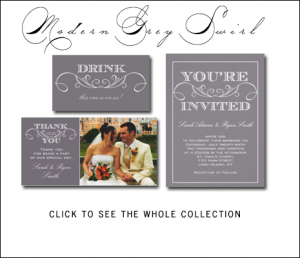 Vintage Gray Wedding Invitations by AntiqueChandelier.ca