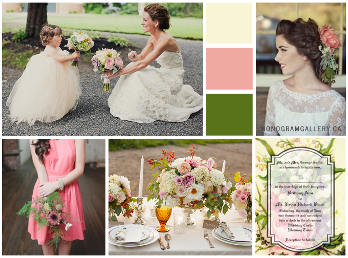 Vintage Floral Wedding invitations Inspiration Board by MonogramGallery.ca