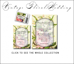 Vintage Floral Wedding Invitations by BlissfulWedding  for MonogramGallery.ca