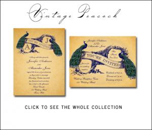Vintage Peacock Wedding Invitations by BlissfulWedding