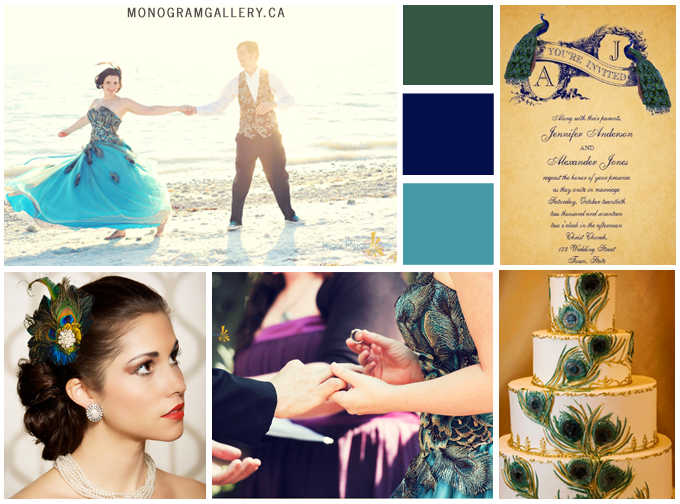 Vintage Peacock Wedding Invitations Inspiration Board by BlissfulWedding