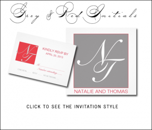 Red Gray Wedding Invitations Modern Monogram by MonogramGallery.ca