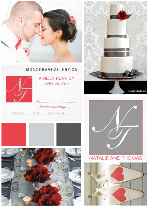 Red Gray Wedding Invitations Inspiration Board by MonogramGallery.ca