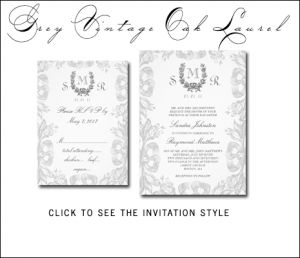 Gray Wedding Invitations | Vintage Oak Laurel by MonogramGallery.ca