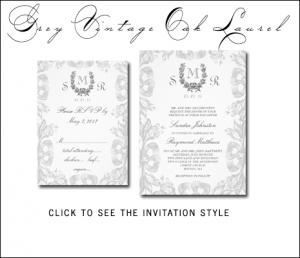 Gray Wedding Invitations | Vintage Oak Laurel by MonogramGallery.ca