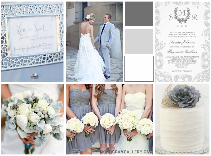 Gray Wedding Inspiration Board for Gray Wedding Invitations | Vintage Oak Laurel by MonogramGallery.ca