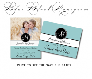 Tiffany Blue Save the Date Cards with Black Monogram by MonogramGallery.ca