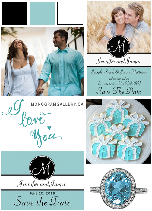 Tiffany Blue Save the Date Cards and Tiffany Blue Engagement Inspiration Board by MonogramGallery.ca