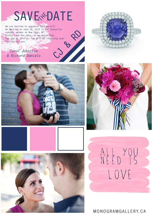 Save the Date Inspiration Board for Navy Blue Pink Save the Dates | Preppy Wedding Tree by MonogramGallery.ca