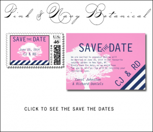 Navy Blue Pink Save the Dates | Preppy Wedding Tree by MonogramGallery.ca