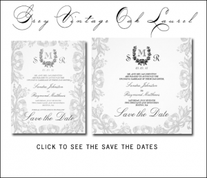 Gray Save the Dates with Vintage Oak Laurel and Monograms by MonogramGallery.ca