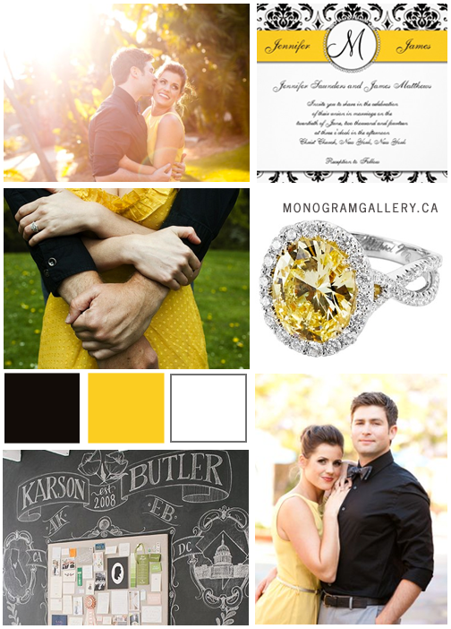Inspiration Board for Black White Yellow Damask Wedding Invitations with Monogram by MonogramGallery.ca