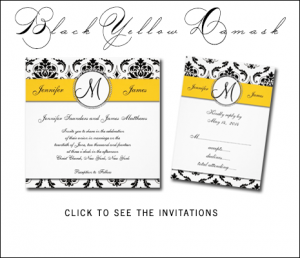 Black White Yellow Damask Wedding Invitations with Monogram by MonogramGallery.ca