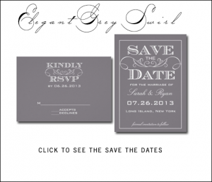 Vintage Gray Save the Dates with Swirls by AntiqueChandelier for MonogramGallery.ca