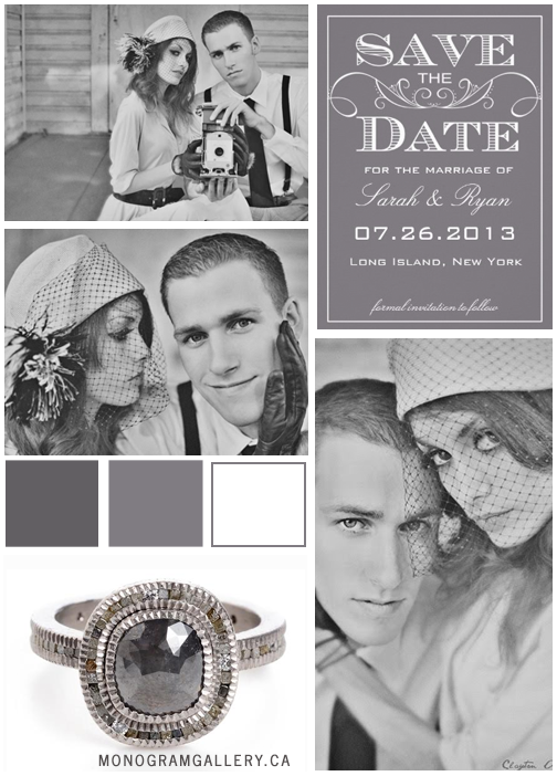 Inspiration Board for Vintage Gray Save the Dates with Swirls by AntiqueChandelier for MonogramGallery.ca