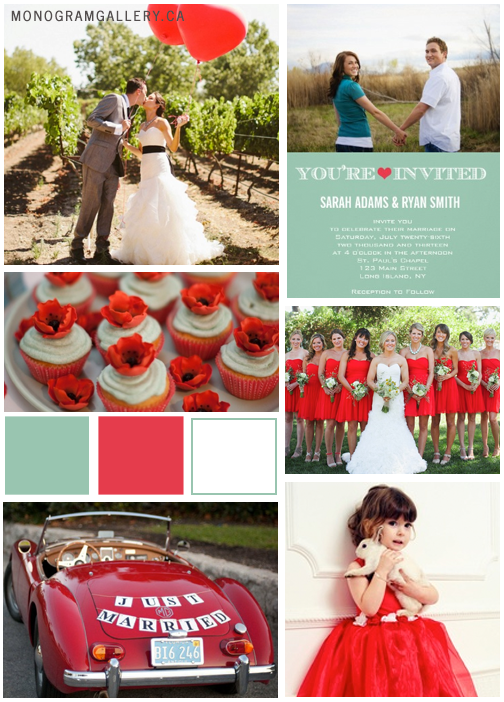 Inspiration Board for Mint Green Poppy Red Wedding Invitations by AntiqueChandelier for MonogramGallery.ca