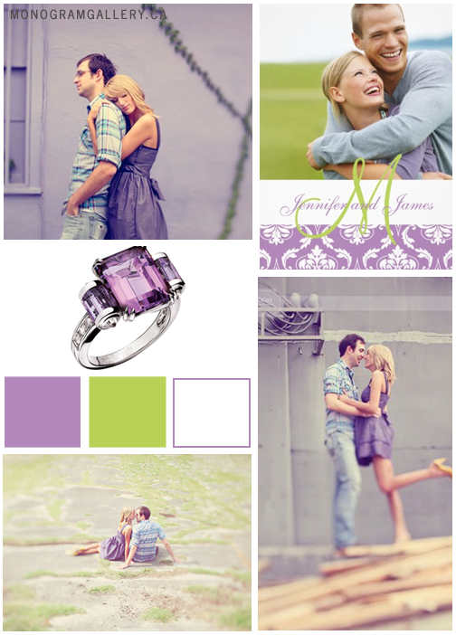 Inspiration Board for Purple Green Wedding Invitations with Damask and Your Photo by MonogramGallery.ca