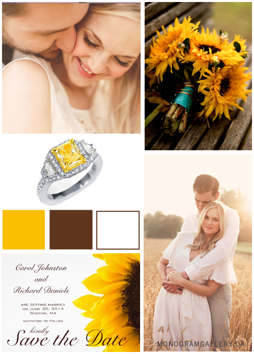 Yellow Brown Sunflower Save the Date Cards by BlissfulWedding. Inspiration Board by MonogramGallery.ca