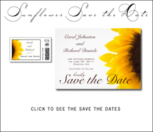 Yellow Brown Sunflower Save the Date Cards by BlissfulWedding for MonogramGallery.ca