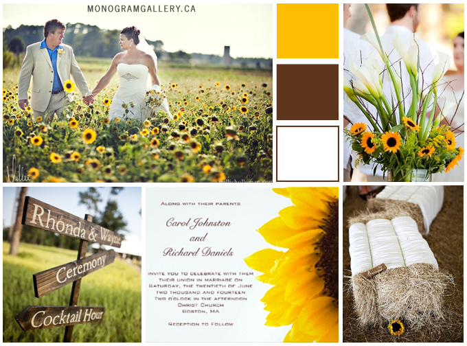 Inspiration Board for Sunflower Wedding Invitations for Rustic Weddings by BlissfulWedding for MonogramGallery.ca